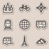 Los iconos del Web del recorrido fijaron 2, etiqueta engomada marrón del contorno libre illustration