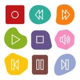 Los iconos del Web del walkman, color manchan serie Imágenes de archivo libres de regalías