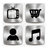 Los iconos del Web en los botones metálicos fijaron vol. 8 Imagen de archivo libre de regalías