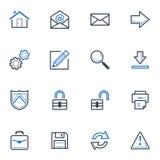 Los iconos del web y de Internet fijaron 1 - serie azul Foto de archivo libre de regalías
