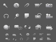 Los iconos del Web y del Internet fijaron en gris Imagenes de archivo