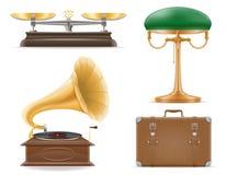 Los iconos determinados del viejo vintage retro de los electrodomésticos almacenan vector Foto de archivo