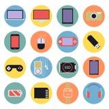 Los iconos digitales de las multimedias de la nueva tecnología fijaron d plana Fotos de archivo
