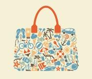 Los iconos en un tema de la playa descansan bajo la forma de bolso stock de ilustración