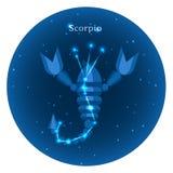 Los iconos estilizados del zodiaco firman adentro el cielo nocturno con la constelación brillante de las estrellas en frente Foto de archivo