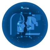 Los iconos estilizados del zodiaco firman adentro el cielo nocturno con la constelación brillante de las estrellas en frente Imagenes de archivo