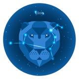 Los iconos estilizados del zodiaco firman adentro el cielo nocturno con la constelación brillante de las estrellas en frente Imágenes de archivo libres de regalías