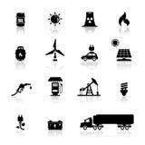 Los iconos fijados accionan y energía Imagen de archivo