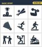 Los iconos fijan calidad superior del deporte básico y se divierten el desarrollo del entrenamiento de los deportes Estilo plano  Imagen de archivo