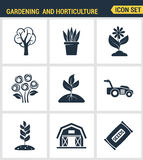 Los iconos fijan la calidad superior de cultivar un huerto y las semillas de la horticultura florecen la flora floral Estilo plan Fotos de archivo