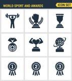 Los iconos fijan la calidad superior del deporte y conceden campeonato de la victoria del trofeo Estilo plano del diseño de la co Imagenes de archivo