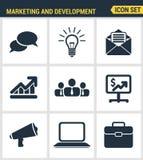 Los iconos fijaron calidad superior del símbolo digital del márketing, de los artículos del desarrollo de negocios, de los medios Foto de archivo libre de regalías