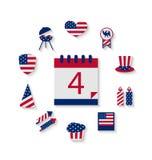Los iconos fijaron Día de la Independencia del color de la bandera de los E.E.U.U. el 4 de julio Imágenes de archivo libres de regalías