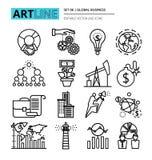 Los iconos fijaron de proceso de negocio global y de éxito de las finanzas en stock de ilustración