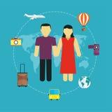 Los iconos fijaron de viajar, del turismo y del viaje planeando vacaciones de verano Fotografía de archivo libre de regalías