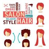 Los iconos fijaron en estilo plano del diseño con el tratamiento del pelo, pasos para prevenir caer del pelo Icono del salón de p Imagen de archivo