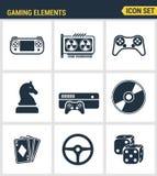Los iconos fijaron la calidad superior de los objetos clásicos del juego, elementos móviles del juego Estilo plano del diseño de  stock de ilustración
