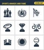 Los iconos fijaron la calidad superior de premios y del honor de la victoria del deporte del emblema de la fama Estilo plano del  ilustración del vector