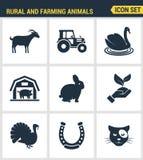 Los iconos fijaron la calidad superior de rural y de la industria agrícola de la naturaleza de los animales del campo Estilo plan ilustración del vector