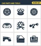 Los iconos fijaron la calidad superior del mecánico del servicio del taller del transporte del icono de las herramientas de las p Imagenes de archivo