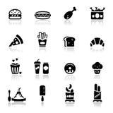Los iconos fijaron la comida basura Fotografía de archivo libre de regalías