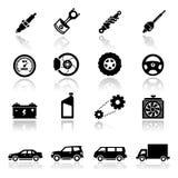 Los iconos fijaron a las piezas de automóvil Fotos de archivo libres de regalías