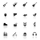 Los iconos fijaron los instrumentos musicales Foto de archivo libre de regalías