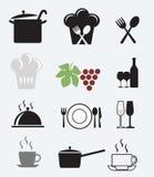 Los iconos fijaron para el restaurante, el café y la barra Foto de archivo libre de regalías