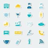 Los iconos fijaron servicios de hotel Etiquetas engomadas coloridas Vector Imagen de archivo libre de regalías