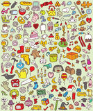 Iconos grandes del Doodle fijados Fotografía de archivo