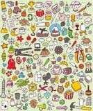 Iconos grandes del Doodle fijados Imágenes de archivo libres de regalías