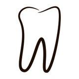 Los iconos humanos de los dientes fijaron aislado en el fondo blanco para la clínica de la medicina dental Logotipo linear del de Fotos de archivo