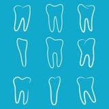 Los iconos humanos de los dientes fijaron en el fondo azul para la clínica de la medicina dental Logotipo linear del dentista Vec Foto de archivo libre de regalías