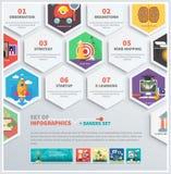 Los iconos infographic del trabajo intelectual, estrategia, empiezan para arriba Foto de archivo libre de regalías