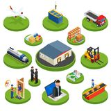 Los iconos isométricos de la logística fijados de los diversos vehículos de la distribución del transporte y elementos de la entr Fotos de archivo