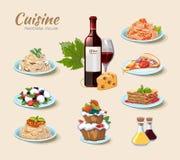 Los iconos italianos del vector de la cocina fijaron en estilo de la historieta Fotografía de archivo