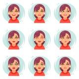 Los iconos lindos del avatar de la muchacha de las emociones divertidas fijaron el ejemplo plano del vector del diseño Imagenes de archivo