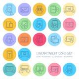 Los iconos lineares de la tableta del vector fijaron con gestos de mano y pictogramas Imagen de archivo libre de regalías