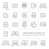 Los iconos lineares de la tableta del vector fijaron con gestos de mano y pictogramas Foto de archivo libre de regalías