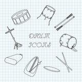 Los iconos lineares del tambor en el cuaderno cubren en una jaula doodle Vector Foto de archivo libre de regalías