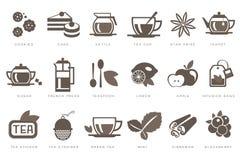 Los iconos lineares del tiempo del té fijaron, galleta, torta, caldera, taza, azúcar, francés presionan, cucharilla, limón, manza Imagen de archivo libre de regalías