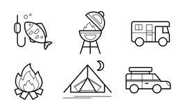 Los iconos lineares que caminaban y que acampaban fijaron, el turismo del eco, ejemplo del vector de los símbolos de las activida stock de ilustración