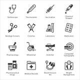 Los iconos médicos y de la atención sanitaria fijaron 1 - equipo y las fuentes Imagen de archivo libre de regalías