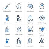 Los iconos médicos y de la atención sanitaria fijaron 2 - las especialidades Imágenes de archivo libres de regalías