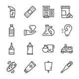 Los iconos m?dicos de los accesorios embalan stock de ilustración
