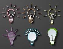 Los iconos modernos de la idea del vector fijaron en fondo oscuro Fotografía de archivo libre de regalías