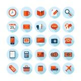 Los iconos modernos del diseño plano fijaron en tema del negocio y de las finanzas ilustración del vector