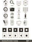 Los iconos monocromáticos fijaron 1 Fotografía de archivo