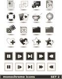Los iconos monocromáticos fijaron 2 Foto de archivo libre de regalías
