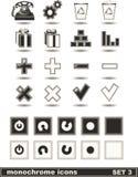 Los iconos monocromáticos fijaron 3 Fotografía de archivo